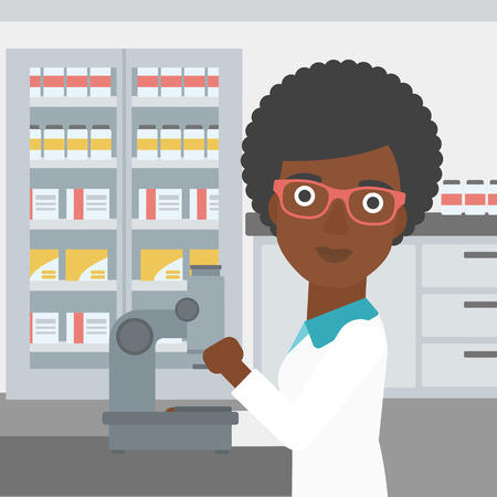 An african-american female laboratory assistant working with microscope at the laboratory. Vector flat design illustration. Square layout.