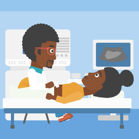 doctor and patient vector: An african-american young doctor examining internal organs of a female patient on the modern ultrasound equipment at medical office. Vector flat design illustration. Square layout.