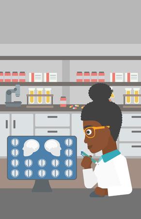 resonancia magnetica: Un doctor de sexo femenino afroamericano joven mirando las im�genes de resonancia magn�tica del cerebro en una pantalla de ordenador en la oficina m�dica. Vector de dise�o plano ilustraci�n. disposici�n vertical.