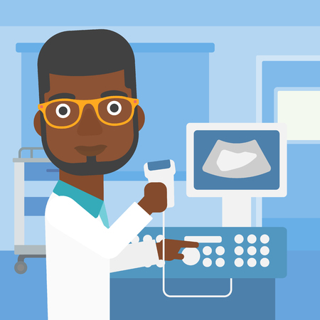 medical scanner: An african-american young male doctor working on modern ultrasound equipment and holding scanner in hand at medical office. Vector flat design illustration. Square layout.