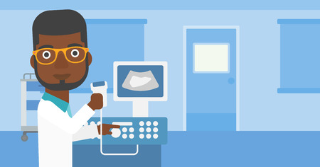 medical scanner: An african-american young male doctor working on modern ultrasound equipment and holding scanner in hand at medical office. Vector flat design illustration. Horizontal layout.