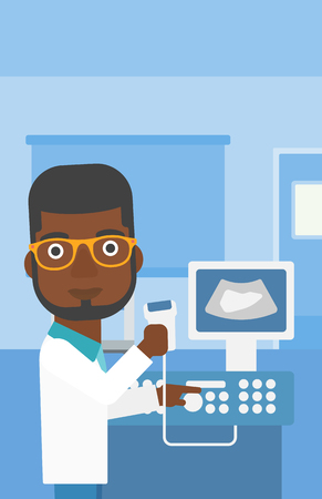medical scanner: An african-american young male doctor working on modern ultrasound equipment and holding scanner in hand at medical office. Vector flat design illustration. Vertical layout. Illustration
