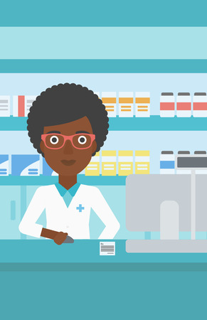 dispensary: An african-american young female pharmacist in medical gown standing at pharmacy counter and working on a computer. Vector flat design illustration. Vertical layout.