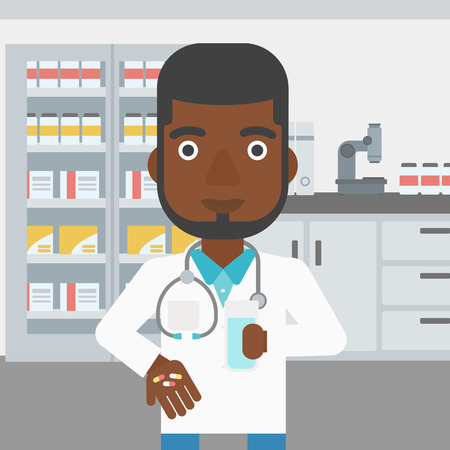 doctor giving glass: An african-american young pharmacist in medical gown holding in hands a glass of water and pills in the laboratory. Vector flat design illustration. Square layout.