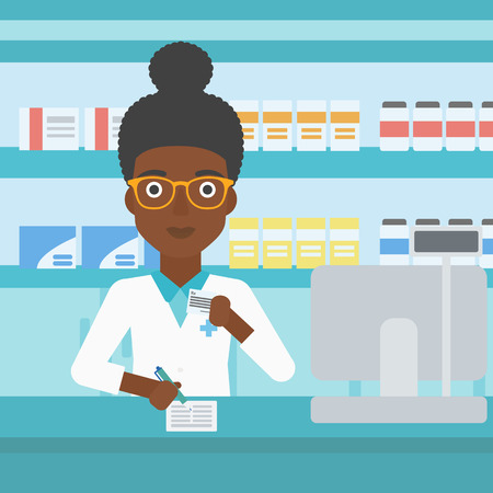 druggist: An african-american young female pharmacist in medical gown standing at pharmacy counter, writing on clipboard and holding prescription in hand. Vector flat design illustration. Square layout.
