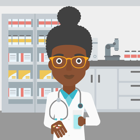 An african-american young female pharmacist with stetoscope wearing medical gown and holding in hands a glass of water and pills in the laboratory. Vector flat design illustration. Square layout.