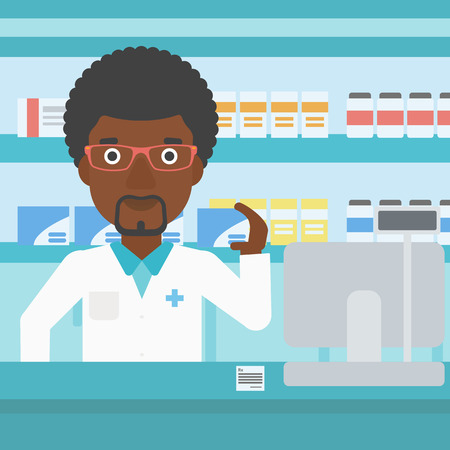 An african-american young pharmacist standing at the counter and showing a box of pills in the pharmacy. Vector flat design illustration. Square layout. Çizim