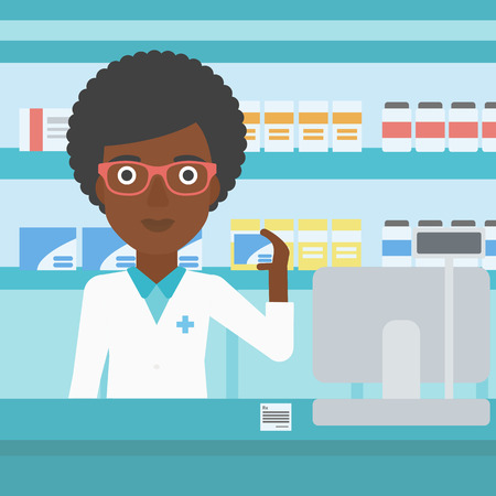 dispensary: An african-american young female pharmacist standing at the counter and showing a box of pills in the pharmacy. Vector flat design illustration. Square layout.