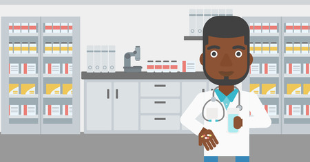 doctor giving glass: An african-american young pharmacist in medical gown holding in hands a glass of water and pills in the laboratory. Vector flat design illustration. Horizontal layout. Illustration