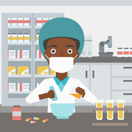 An african-american young female pharmacist in mask using mortar and pestle for preparing medicine in the laboratory. Vector flat design illustration. Square layout. Ilustração