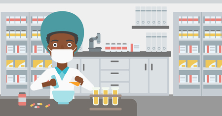 medical preparation: An african-american young female pharmacist in mask using mortar and pestle for preparing medicine in the laboratory. Vector flat design illustration. Horizontal layout.