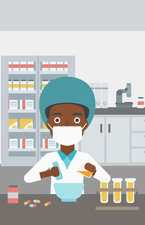 An african-american young female pharmacist in mask using mortar and pestle for preparing medicine in the laboratory. Vector flat design illustration. Vertical layout. Illustration