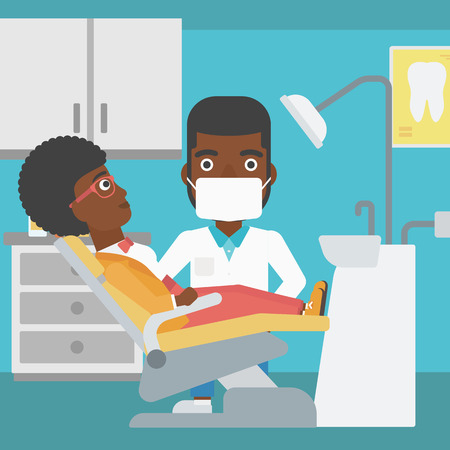 young woman sitting: An african-american young woman sitting it the chair at the dental office and hipster doctor with the beard exemining her teeth. Vector flat design illustration. Square layout. Illustration