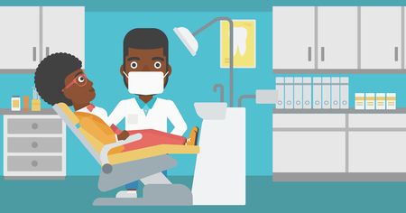 young woman sitting: An african-american young woman sitting it the chair at the dental office and hipster doctor with the beard exemining her teeth. Vector flat design illustration. Horizontal layout.