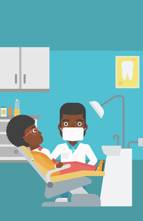 young woman sitting: An african-american young woman sitting it the chair at the dental office and hipster doctor with the beard exemining her teeth. Vector flat design illustration. Vertical layout. Illustration