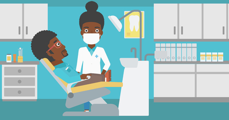 An african-american young man sitting it the chair at the dental office and female doctor exemining his teeth. Vector flat design illustration. Horizontal layout. Иллюстрация