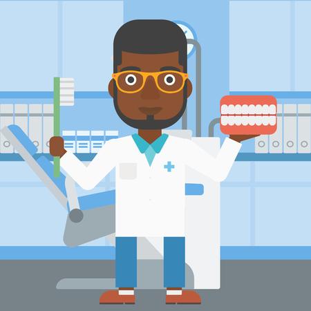 Un jeune dentiste tenant modèle african-american mâle dentaire de la mâchoire et une brosse à dents dans le bureau de médecin. Vector design plat illustration. layout Square. Banque d'images - 59698125