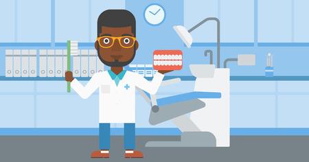 Un jeune dentiste tenant modèle african-american mâle dentaire de la mâchoire et une brosse à dents dans le bureau de médecin. Vector design plat illustration. Présentation horizontale. Banque d'images - 59698130