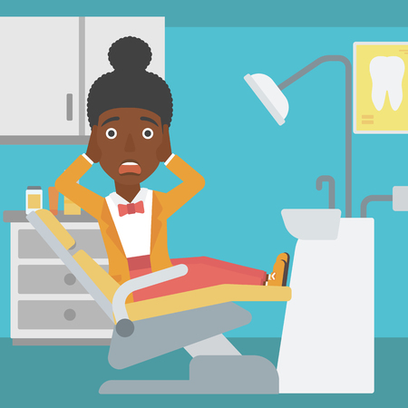 frightful: An african-american young frightened female patient sitting in dental chair at dentist office.Vector flat design illustration. Square layout.