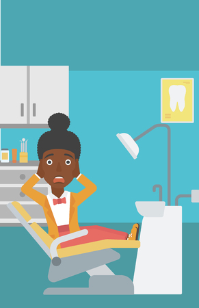 dental chair: An african-american young frightened female patient sitting in dental chair at dentist office.Vector flat design illustration. Vertical layout.
