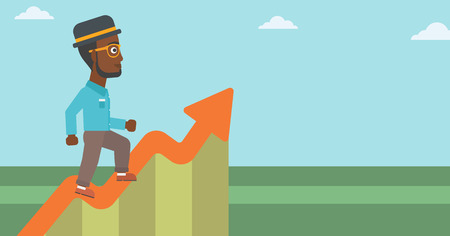 going up: An african-american businessman running along the growth graph. Businessman going up. Successful business concept. Vector flat design illustration. Horizontal layout.