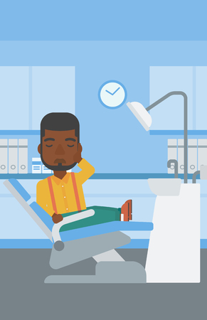tooth pain: An african-american young patient sitting in dental chair at dentist office and suffering from tooth pain. Man having a toothache. Vector flat design illustration. Vertical layout.