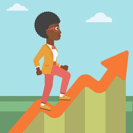 moving up: An african-american business woman running along the growth graph. Business woman going up. Woman moving up. Successful business concept. Vector flat design illustration. Square layout. Illustration