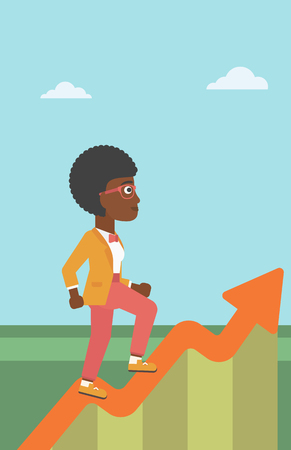 moving up: An african-american business woman running along the growth graph. Business woman going up. Woman moving up. Successful business concept. Vector flat design illustration. Vertical layout.