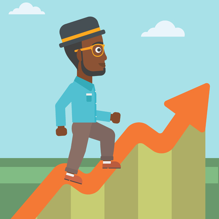 upstairs: An african-american businessman running along the growth graph. Businessman going up. Successful business concept. Vector flat design illustration. Square layout.