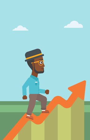 runner up: An african-american businessman running along the growth graph. Businessman going up. Successful business concept. Vector flat design illustration. Vertical layout.