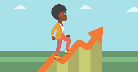 moving up: An african-american business woman running along the growth graph. Business woman going up. Woman moving up. Successful business concept. Vector flat design illustration. Horizontal layout.