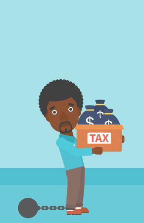 carrying box: Chained to a large ball an african-american businessman carrying heavy box with bags full of taxes. Vector flat design illustration. Vertical layout.
