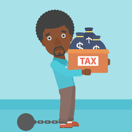 carrying box: Chained to a large ball an african-american businessman carrying heavy box with bags full of taxes. Vector flat design illustration. Square layout.
