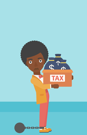 carrying box: Chained to a large ball an african-american business woman carrying heavy box with bags full of taxes. Vector flat design illustration. Vertical layout.