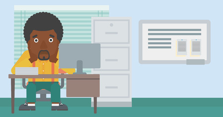 An african-american tired businessman sitting at workplace in front of computer monitor and clutching his head. Vector flat design illustration. Horizontal layout. Illustration