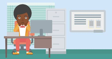 An african-american business woman sitting at workplace in front of computer monitor and clutching her head. Vector flat design illustration. Horizontal layout.