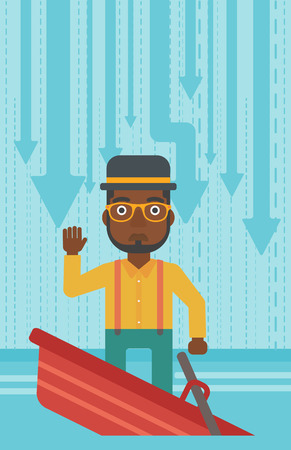 unstable: An african-american scared businessman standing in a sinking boat and asking for help. Concept of business bankruptcy. Vector flat design illustration. Vertical layout.