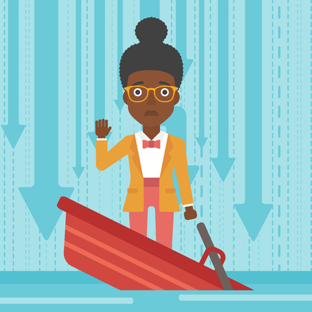 bankruptcy: An african-american business woman standing in a sinking boat and asking for help. Concept of business bankruptcy. Vector flat design illustration. Square layout.