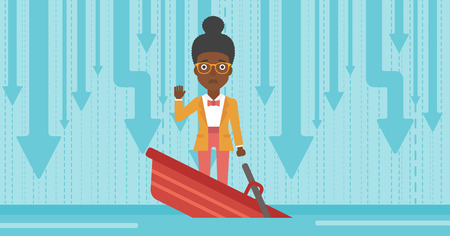 unstable: An african-american business woman standing in a sinking boat and asking for help. Concept of business bankruptcy. Vector flat design illustration. Horizontal layout.