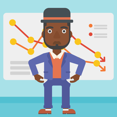 empty pocket: An african-american businessman showing his epmty pockets on the background of board with decreasing chart. Bankruptcy concept. Vector flat design illustration. Square layout.
