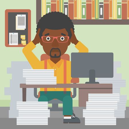 heaps: An african-american businessman in despair sitting at workplace with heaps of papers and clutching his head. Vector flat design illustration. Square layout.