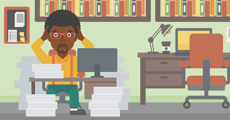 heaps: An african-american businessman in despair sitting at workplace with heaps of papers and clutching his head. Vector flat design illustration. Horizontal layout. Illustration