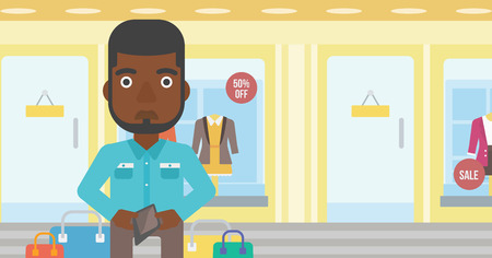 empty wallet: An african-american young man showing his wallet purse on the background of showcase of a store. Vector flat design illustration. Horizontal layout. Illustration