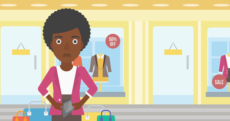 insolvent: An african-american woman showing her epmty wallet on the background of showcase of a store. Vector flat design illustration. Horizontal layout.