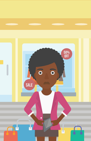 empty wallet: An african-american woman showing her epmty wallet on the background of showcase of a store. Vector flat design illustration. Vertical layout. Illustration