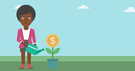 An african-american business woman watering a money flower. Successful business concept. Vector flat design illustration. Horizontal layout.