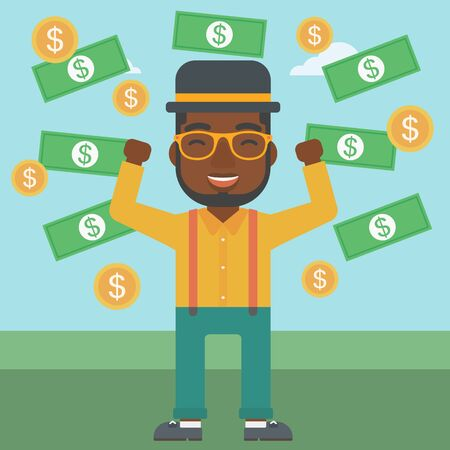 money rain: An african-american young businessman with raised hands standing under money rain. Successful business concept. Vector flat design illustration. Square layout.