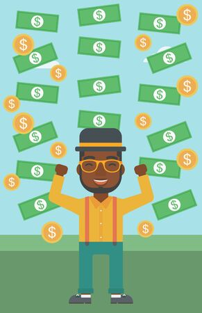 money rain: An african-american young businessman with raised hands standing under money rain. Successful business concept. Vector flat design illustration. Vertical layout.