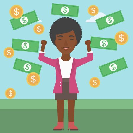 money rain: An african-american business woman with raised hands standing under money rain. Successful business concept. Vector flat design illustration. Square layout.