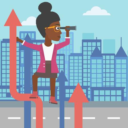Ein African-American Business Frau, die auf der Spitze des Pfeils und sucht durch Spyglass auf dem Hintergrund der modernen Stadt. Vector flache Design-Illustration. Platz Layout.
